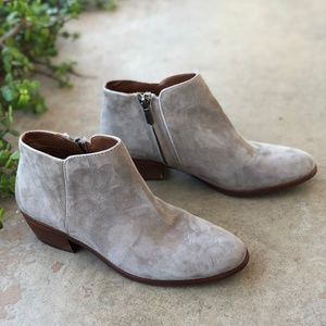 Sam Edelman Petty Taupe Suede Ankle Booties